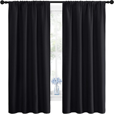 New Listing Black Blackout Curtain Blinds - Solid Thermal Insulated Window Treatment Blacko