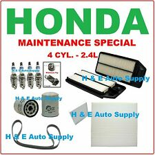 03-07 ACCORD 4 CYL 2.4L TUNE UP KITS: SPARK PLUGS, BELT, AIR, CABIN & OIL FILTER