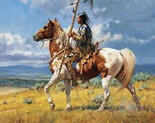 HD Art  Canvas Print, Oil Painting Indian Spear Horse A5975,16