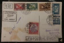 1925 Szeged Hungary Early Airmail Postcard cover to Budapest