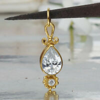 Omer Sterling Silver Roman Art White Topaz Pear Pendant 24k Yellow Gold Plated