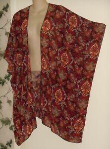 Forever 21 Sheer Boho Hippie OHM Kimono Over Blouse Top Duster Cover Up Sz M Med
