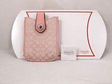 Coach Signature Small Electronics Case Pink New F61699 Peony iPod Phone Holder