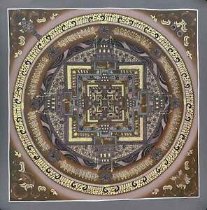 "Hand-painted Kalachakra Mandala Tibetan Thangka Art 17""x 17"""