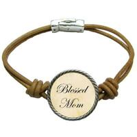 Blessed Mom Brown Leather Cord Bracelet Jewelry Mother's Day Gift