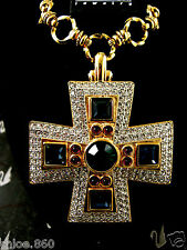 SIGNED SWAROVSKI MALTESE CROSS  NECKLACE NEW WITH TAGS & BOX RETIRED RARE PIECE
