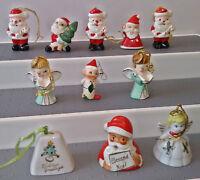 11 Ceramic Mini's Japan Bells Angels Elf & Pair Holt Howard Santa Candle Holder