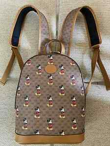 GUCCI Women Backpack Disney x Gucci Mickey Brown Canvas double zip GG AUTHENTIC