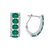 Round J-Hoop Earring 14k White Gold Top Quality Natural Emerald and Diamond