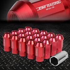 JDM OPEN-END ALUMINUM RED WHEEL LUG NUTS SET+ADAPTER M12X1.5 25MMx44MM TALL