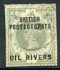 Niger Coast Protectorate SG6 1/- Dull Green CDS Used on small piece Cat 70