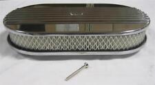 "NEW 15"" Half Finned Polished Aluminum Oval Air Cleaner Nostalgic Retro CLASSIC"
