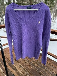 Polo Ralph Lauren Women's XL Cable Italian Merino Wool Cashmere V-Neck Sweater