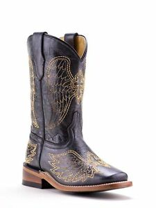CORRAL KIDS SQUARE TOE BLACK WESTERN BOOTS CROSS & WING G1053