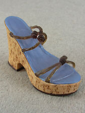 Just The Right Shoe Cork Wedge Mint in Original Box Collectible Shoe W / Coa