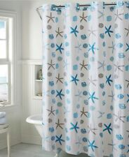 "Hookless 71"" x 74"" Shower Curtain Bath Seashell Peva Grommet A0Y011"