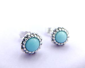 Silver December Blue Pandora Turquoise Birthstone Stud Earrings #290543