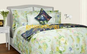 Yves Delorme Bouquets Sage Green Multi Floral King Flat Sheet 100% Cotton Sateen