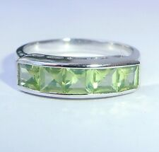 9ct White Gold Princess Peridot Half Eternity Ring, Size N