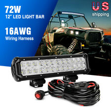 Nilight 12Inch 72W LED Light Bar Spot Flood Truck Lights fit Offroad ATV 4WD Kit
