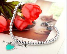 925 Sterling Silver Plated Love HEART Charm Pendant Bead Strand Bracelet Bangle