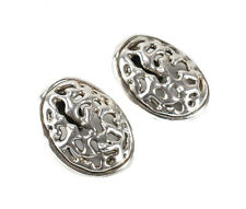 "Lg Vintage Israel Bat Ami Sterling Silver Modernist Clip on Earrings 2"" x 1.5"""
