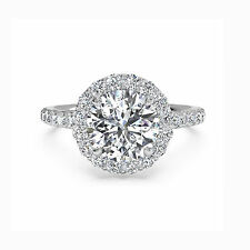 Round Halo 1.30 Ct Diamond Engagement Ring Solid 14K White Gold Rings Size 5 6 7