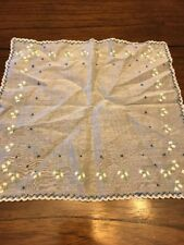 Baby Light Blue Lily of the Valley Handkerchief Hankie Embroidered Hanky