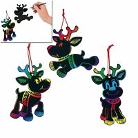 """Magic Color Scratch Reindeer Christmas Ornaments (24 Pack) 3 3/4"""" to 8"""""""