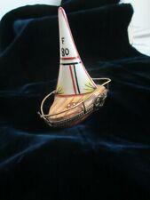 Limoge Pillbox Trinket Box - Peint Main France Sailboat F 80
