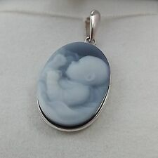 "NEW 14K White Gold Blue Agate Cameo Newborn Baby ""God Thank You"" Charm Pendant"