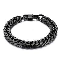 """Charming 316L Stainless Steel Black Color Curb Cuban Chain Men's Bracelet 7-11"""""""