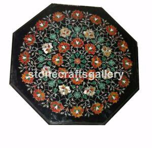 "20"" Black Marble Coffee Table Top Malachite Carnelian Inlay Floral Art Deco B040"