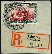 Kiautschou China 1905 27 B Briefstück mit R-Zettel 6/1/06 Attest BPP / 269