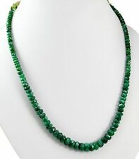 Natural Green Emerald 178ct Big Size Faceted Beads Gemstone Strings Necklace