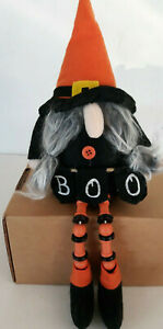 """Halloween Fall Gnome Holding BOO Sign Hat Shelf Sitter Tabletop Doll Beanbag 14"""""""