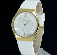 SKAGEN WOMEN WATCH YELLOW GOLD LAYERED 34mm MOTHER OF PEARL LEATHER BAND SKW2027
