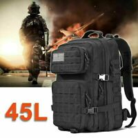 45L Military Tactical Backpack Army Assault Molle Pack Outdoor Hiking Rucksack