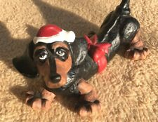 Dachshund Dog Figurine porcelain Douglas Santa Claus Hat Red Bow CHRISTMAS doxie
