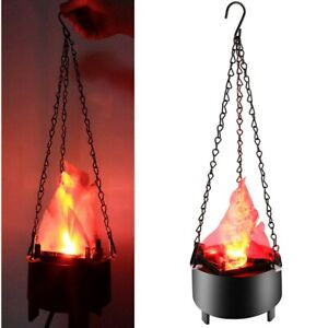 NEW LED Hanging Fake Flame Lamp Torch Light Fire Pot Halloween Christmas US