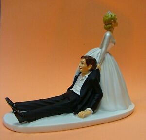 Wedding Couple Cake Toppers Funny Figurine Bride and Groom Humor Marriage drag