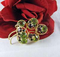 Vintage Dazzling Green & Purple Rhinestone  Brooch Pin CAT RESCUE
