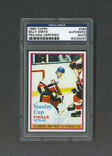 Billy Smith signed New York Islanders 1980 Topps Stanley Cup card Psa/Dna