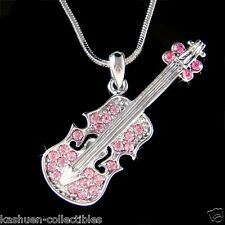 ~Pink Violin Viola Cello Fiddle made with Swarovski Crystal Musical Necklace New