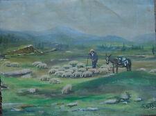 Ruso ? Pintura Al Óleo para Restaurieren° Antiguo Firmado Rebaño de Ovejas