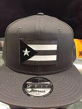 New Era NE400 Grey Snapback Flat Bill Cap w/ Subdued Puerto Rico Rican Flag