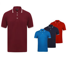 Mens Tipped Plain Polo Shirts Collared Short Sleeve 100% Cotton S - 3XL