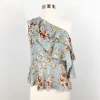 NEW Amaryllis Floral One Shoulder Blouse Size Medium Blue Peplum Paisley Ruffle