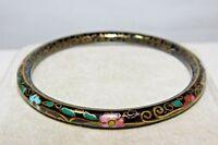 Vintage Cloisonne Enamel Bangle Bracelet Black Floral 1H 37