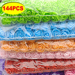 144Pcs Artificial Foam Roses Flowers With Stem Wedding Bride Bouquet Party Decor